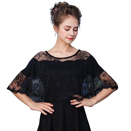 Kanrome Women's Black Embroidered Lace Evening Shawl Wraps Prom Cape Cover Up Party Scarves For Dresses (E)