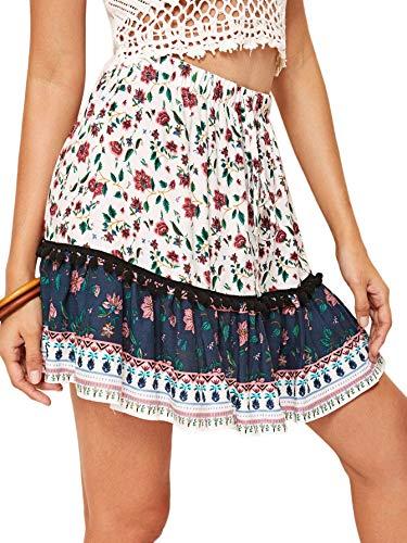 WDIRARA Women's Mid Waist Ditsy Floral Print Ruffle Summer Boho Short Skirt White -