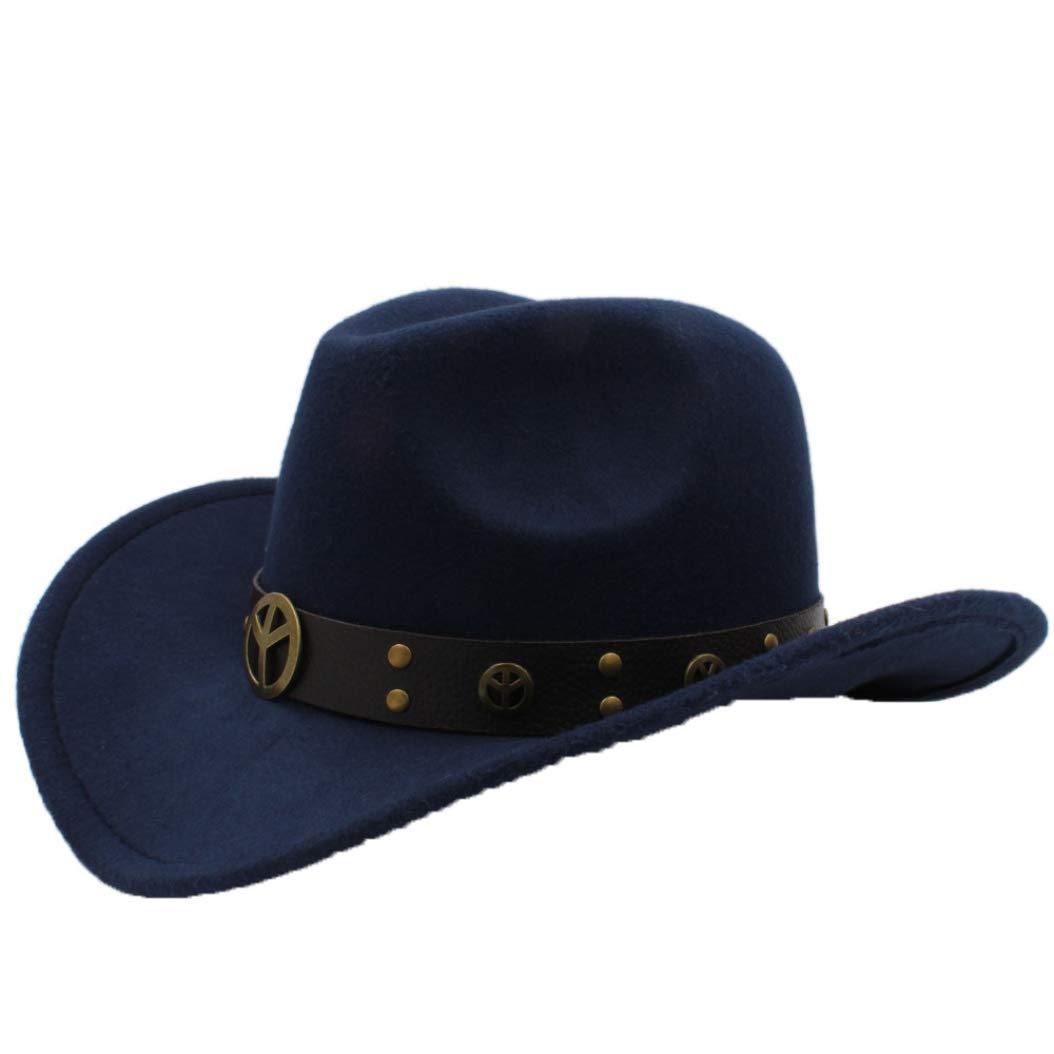 9400a06327e31 Dark bluee ASO-SLING Faux Felt Wide Brim Western Cowboy Cowboy Cowboy Hat  Wool Outback Cattleman Hat with Leather Belt af3a99