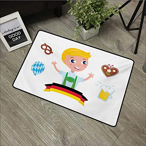 (Hall mat W35 x L59 INCH German,Bavarian Boy with Blonde Hair with Oktoberfest Symbols Beer Balloon and Pretzel,Multicolor Easy to Clean, no Deformation, no Fading Non-Slip Door Mat Carpet)