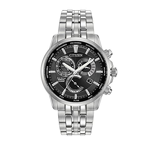 Chronograph 100m Titanium Alarm Watch - Citizen Men's Eco-Drive Perpetual Calendar Watch with Month/Day/Date, BL8140-55E