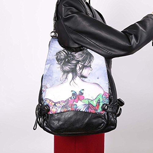 Angelkiss Impresión Digital Lavado PU Bolsos de Cuero Hombro Mochila Mujer K15631/5 Negro D