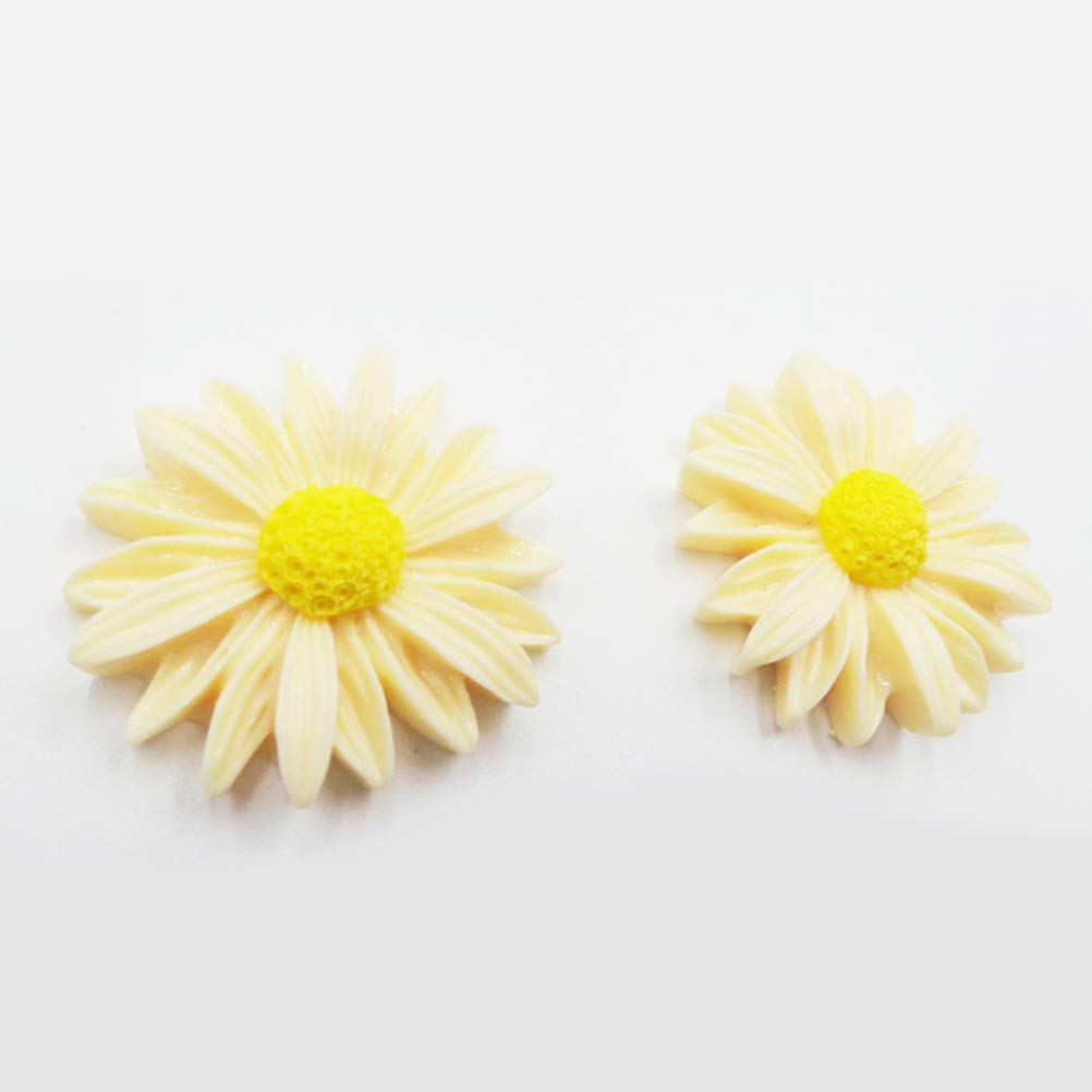 Healifty 50pcs Rose Flowers Beads Flatback DIY Cabochons Accessory Embellishment Scrapbooking Craft 10mm