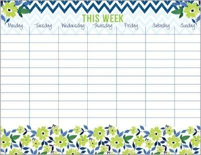 Green Flowers & Chevron Weekly Calendar Pad, with Attachable Magnet,
