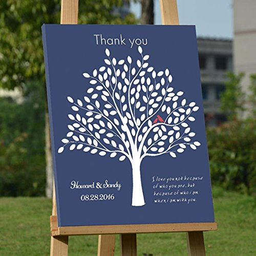 Blue Personalized Canvas (Personalized Wedding Guest Book Tree Navy Blue Personalized Wedding Present Unique Guest Book Leaves Personalized Anniversary Gift I Love You Guest Books on Canvas with 150 Leaves)