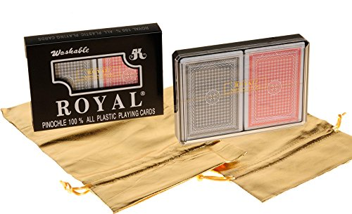 Royal PINOCHLE All Plastic Playing Cards with Large Numbers _ Bundle of 4 Decks in 2 Plastic Cases _ Bonus Two Gold Metallic Cloth Drawstring Storage Pouches _ Bundled Items