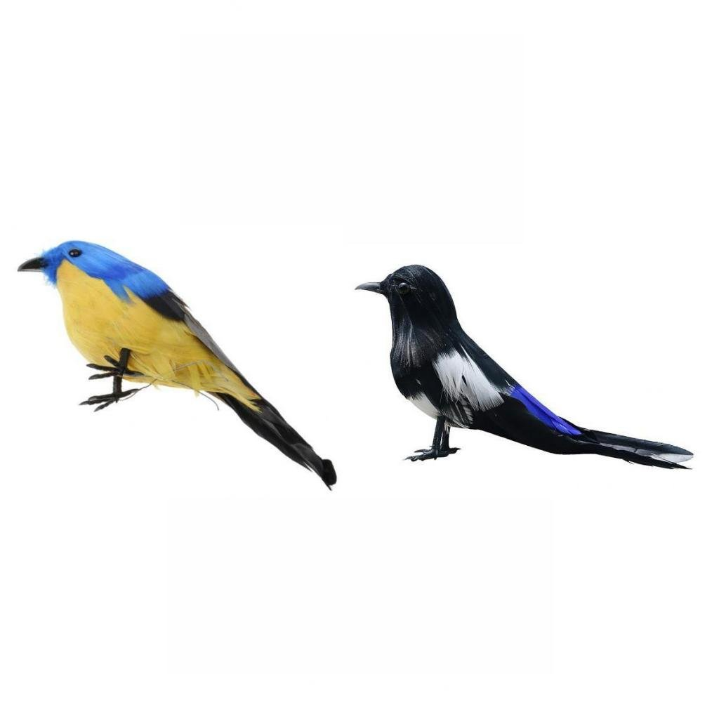 Jili Online Home Artificial Magpie+Small Bird Fur Imitation Animal Ornament Decor