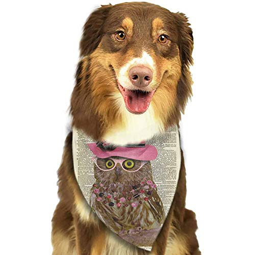 Custom Made Dog Bandana,Pet Costume Accessories-Elegant Owl Newspaper Pattern Printing Colorful]()