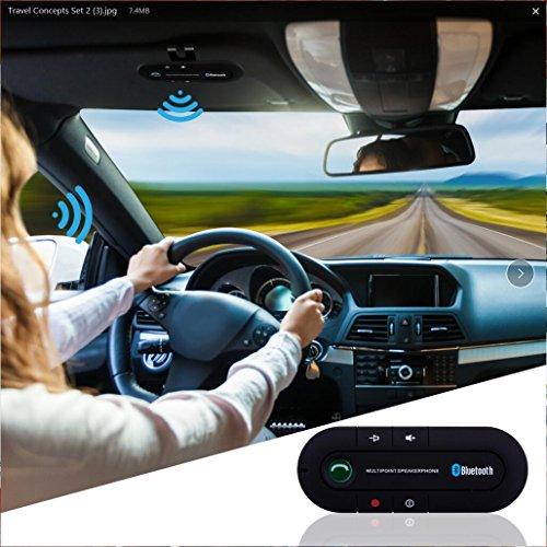 Bluetooth Visor Speakerphone Bluetooth Car Speaker Hands free Kit for Smart Phone, iPhone and iPad (Black) by BTBSZ (Image #3)