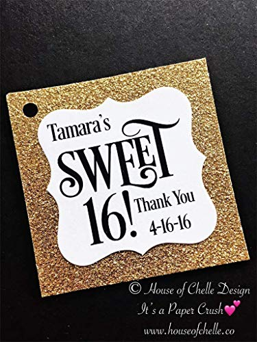 Sweet 16 Thank You Favor Tags Gold Glitter Personalized Set of 25 - Bridal Baby Shower Birthday Graduation Quinceanera Mis Quince Party -