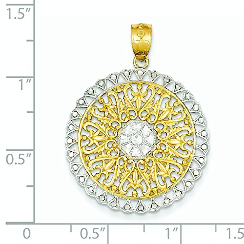 Filigrane 14 carats-Rhodium-Dimensions :  33,4 x 25,1 mm-JewelryWeb