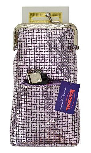 Cigarette Sequin Holder - New Design Sequin Cigarette Soft Mesh 100s 120 S Cigarette Case with Lighter Pocket By Marshal (Purple)