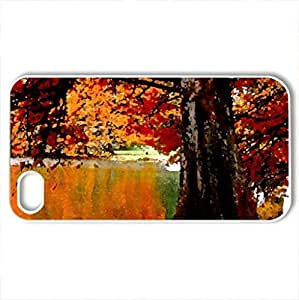 AUTUMN LAKE - Case Cover for iPhone 4 and 4s (Lakes Series, Watercolor style, White)