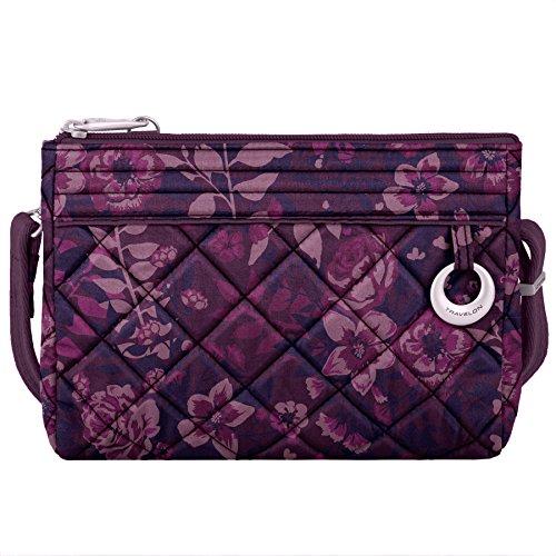 Travelon Wristlet (Travelon Women's Anti-Theft Boho Clutch Crossbody Cross Body Bag, Wine Rose, One Size)