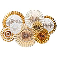 FECEDY Gold Paper Fan Flower Hanging Banner for Party Decorations 8pcs/Pack