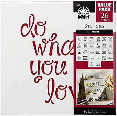FolkArt Die Cut Paper Stencils, 31564E Phrases (26-Pack)