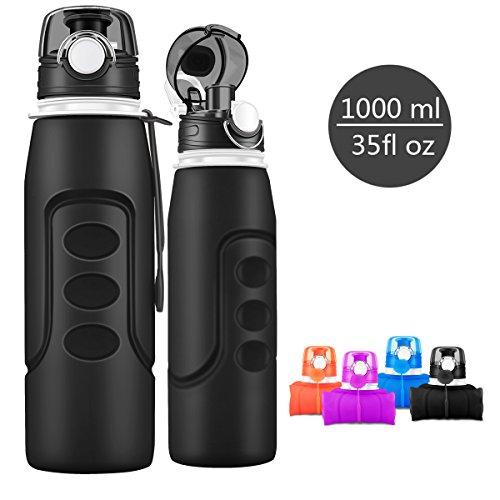 Bepack Sports Water Bottle,1000ML/35fl OZ Silica Gel Non-...