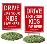 2 Pack - Drive Like Your Kids Live Here Yard Sign, Drive Slow/Children At Play Reminder