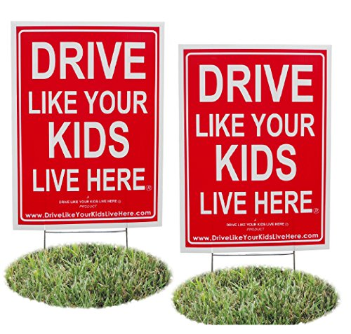 Here Sign - 2 Pack - Drive Like Your Kids Live Here Yard Sign, Drive Slow/Children At Play Reminder