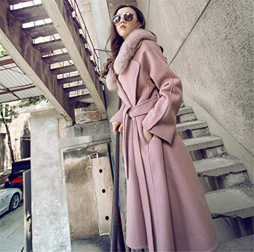 ELEGENCE-Z Women's Cashmere Coat Jacket, Europe and America Wool Lace Fur Collar Pink Long Section Simple Coat
