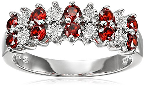 Sterling Silver Double Row Alternate Garnet and White