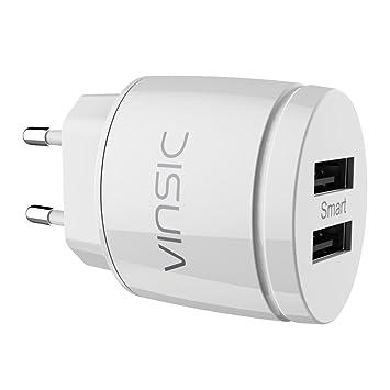 Cargador USB, Vinsic® Cargador Portátil Doble USB Cargador 12W 2.4A, Cargador de Pared Adaptador para el iPhone 6 / 6S, iPhone 6 Plus, el iPhone 5 / ...