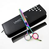 Unicorn Plus 440C Heavy Duty Titanium Coated Pet Grooming Scissors - Hair Thinning/Texturizing Straight Shears-6.5'' Chunker Shear CNC Teeth Thinning Scissors + FREE Case