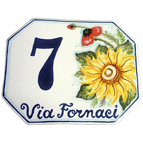CERAMICHE D'ARTE PARRINI - Italian Ceramic Art Pottery Tile Custom House Number Civic Address Plaques Decorative Hand Painted Made in ITALY Tuscan ()