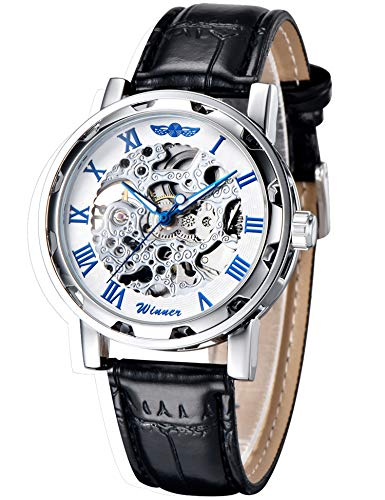 GuTe Classic Steampunk Bling Mechanical Wristwatch See Through Skeleton Automatic Blue Hands Unisex (Chrome Watch)