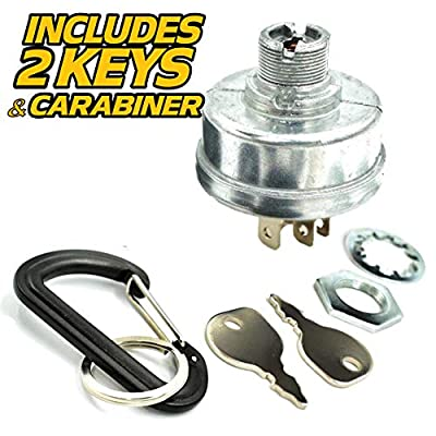 HD Switch Replaces Simplicity Snapper 7026343YP 7026343 Starter Ignition Key Switch - Includes 2 Keys, Mounting Hardware & Free Carabiner: Garden & Outdoor