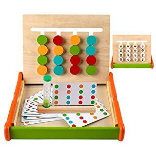 Fabely Wooden Preschool Learning Montessori Educational Wooden Toddlers Toys Puzzle Color Shape Sorting Logic Games for Child Kids Girls Boys Gifts