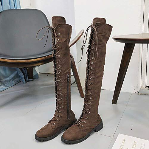 Largo Zapatos Otoño Calzado Altas Ante 35 De Zapatillas Señoras Botines Plano Botas Negras Mujer Moda Verde Marrón Tacón 43 YnwvCOIq