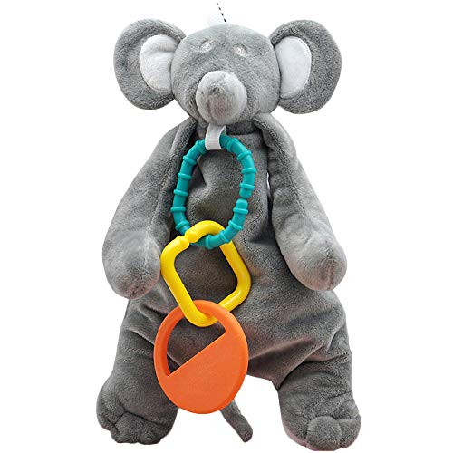 Baby Soothing Toy, Stroller Teether Toy, Soft Plush Doll with Silicone Teething Rings, 11 inches Elephant (Plush 11 Elephant)