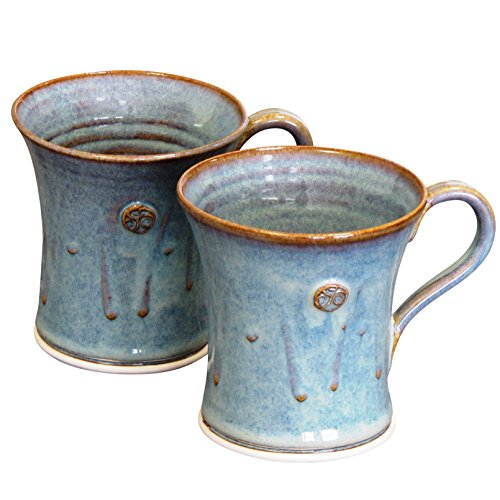 Handmade Pottery Mugs (Irish Handmade Coffee & Tea Mug Set.Two Flared Cylinder Hand-Thrown Cups 300ml Green)