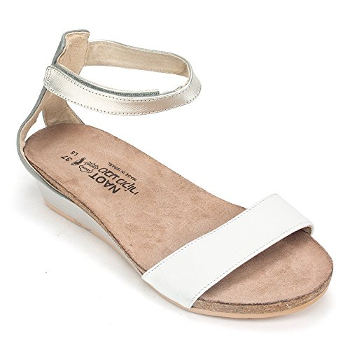 Naot Footwear Women's Pixie, White Leather/Vintage Slate Leather/Silver Luster Leather, 39 (US Women's 8) M (Naot Shoes Sandals)