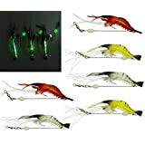 JSHANMEI Luminous Shrimp Fishing Lures with Hook Fishing Tackle Artificial Silicone Soft Bait Set for Freshwater Saltwater Bass Trout Salmon Walleye