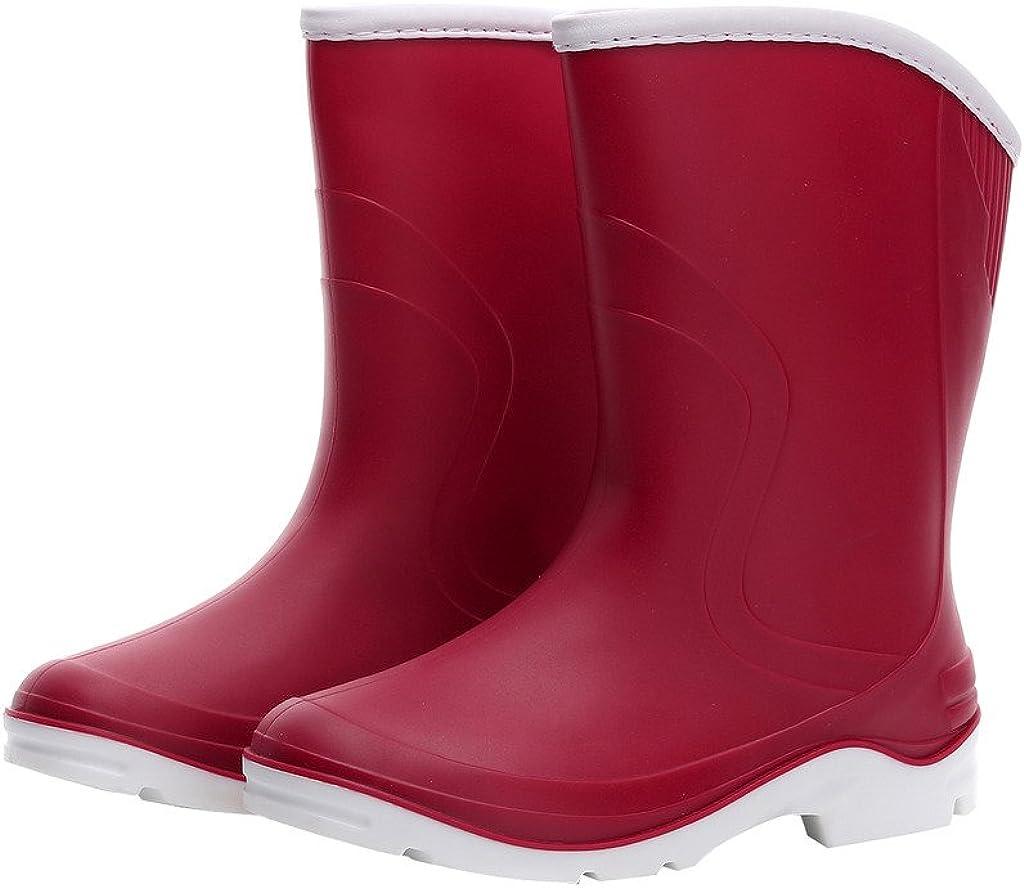 Kontai Women Half Calf Ankle Rubber Rainboots 2 Color Waterproof Boots for Garden Rain Round Toe Rainboots