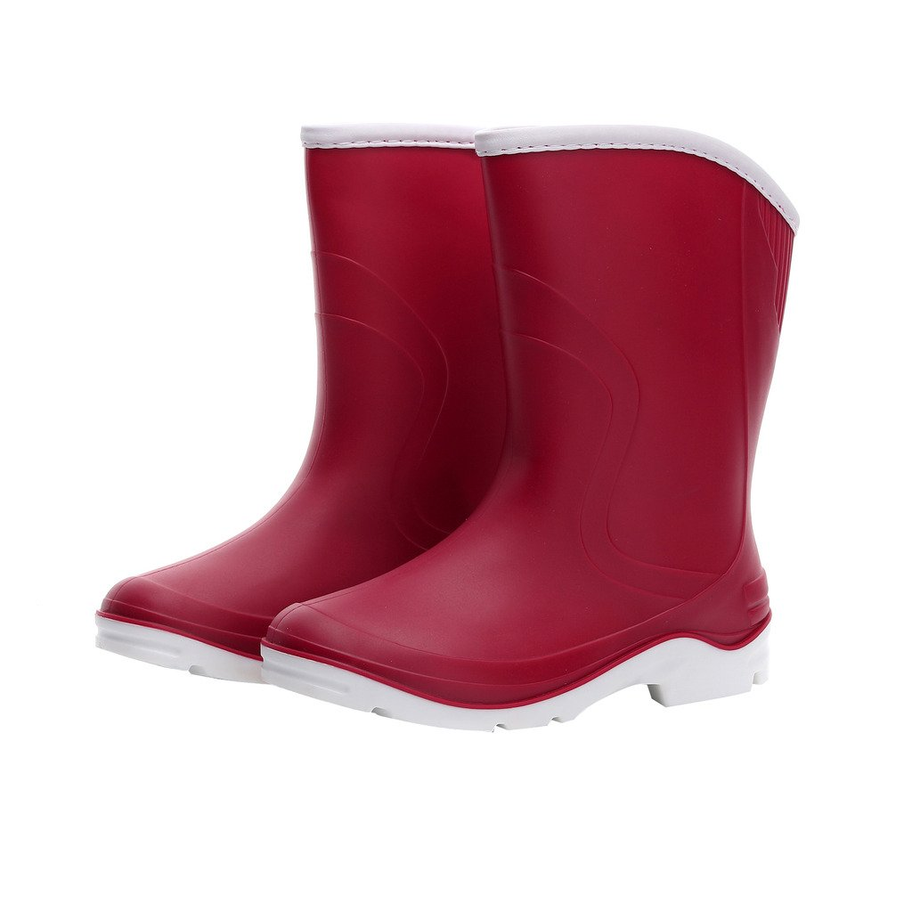 Kontai Women Half Calf Ankle Rubber Rainboots 2 Color Waterproof Boots for Garden Rain Round Toe Rainboots Size 7.5 by Kontai (Image #1)