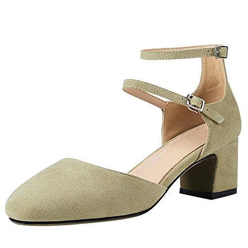 Mee Shoes Damen Chunky Heels Ankle Strap Nubukleder Pumps Hellgrün
