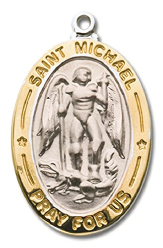 - RHODIUM PLATED ST. MICHAEL NECKLACE ON 18'' CHAIN MC3138