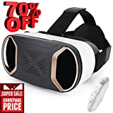Pansonite 3D VR Glasses Virtual Reality Headset for Games & 3D Movies,VR Headset with Anti-Blue-Light Lenses & Stereo Headset for iPhone and Android Smartphones