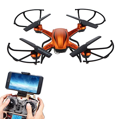 nes Quadcopter for Kids with WIFI Camera Remote Control Airplane Helicopter Flying Toys 2.4GHz 6Gyro 3D Flips Headless Drone Indoor/Outdoor for Boys Girls Beginner Gifts(Orange) ()