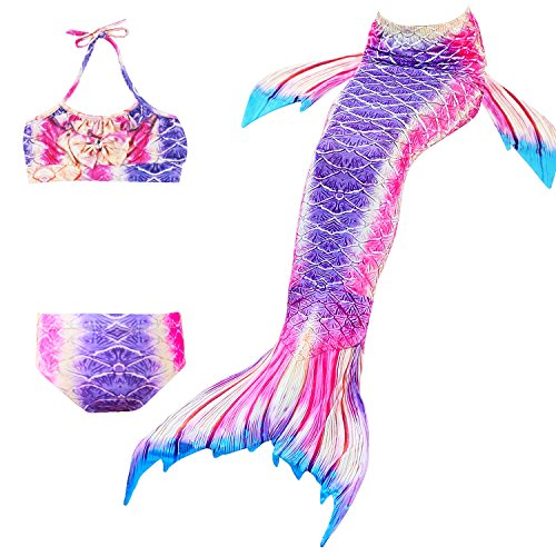 Das beste Girl's Swimsuit Mermaid Tail for Swimming,Colorful Swimmable Costume Cosplay Princess Swimwear Bikini Set Bathing Suit Set (No Monofin) -