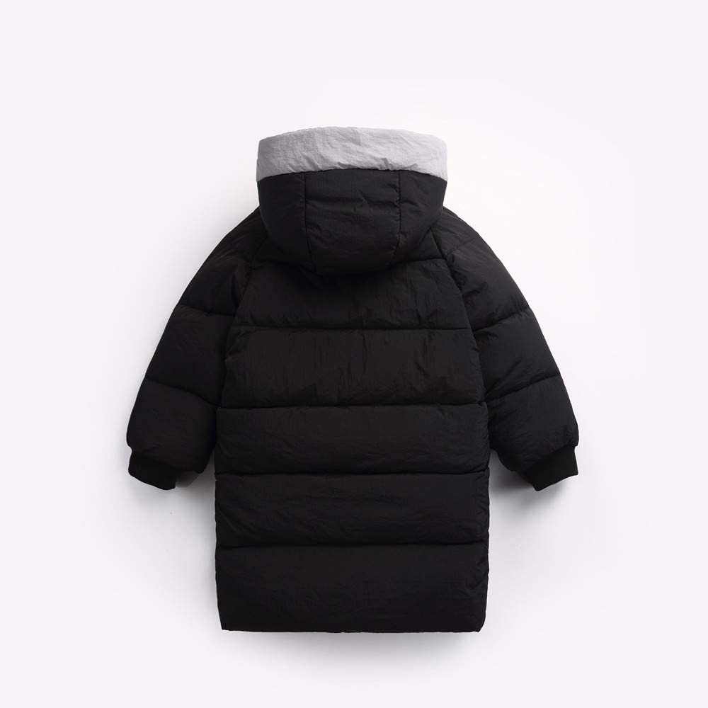 FEITONG Children Girls Boys Baby Winter Coats Thickened Hooded Drawstring Colorblock Pocket Cotton Jacket