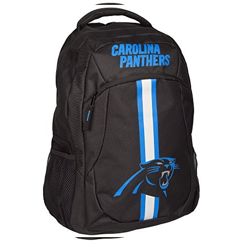 1pc Large NFL Panthers Backpack, Stripe Logo Football Themed Strap Back Sports Pattern, Polyester, CAR Merchandise Athletic American Team Spirit Fan School Bag Blue Black White by Unknown