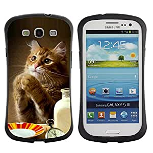 All-Round híbrido de goma duro caso cubierta protectora Accesorio Generación-I BY RAYDREAMMM - Samsung Galaxy S3 I9300 - Cat Cute Funny Paws Table Food Milk Ginger