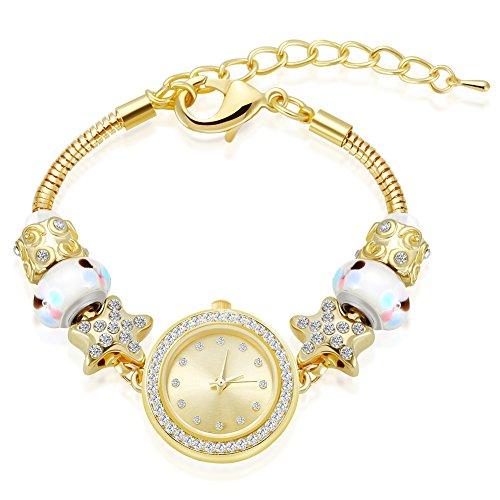 MANBARA Gold Tone Charm Bracelet Wrist Watches for Women Party Jewelry (600BF Star Gold Bracelet Watch) from MANBARA