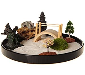 icnbuys zen garden with boat bridge japanese censers set with free rake and pushing. Black Bedroom Furniture Sets. Home Design Ideas