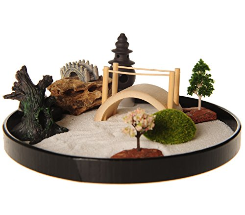 ICNBUYS Zen Garden with Boat Bridge Japanese Censers Set with Free Rake and Pushing Sand Pen Base Tray Diameter 9.4 inches