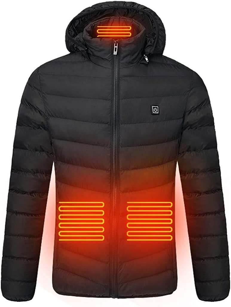 Aoukey ????Heated Jackets for Men Warm Jacket Heated Hoodie Overalls Smart USB Four Electric Heating Warm Cotton Clothes